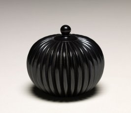 Miniature blackware melon jar with lid