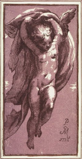 A Genie Aloft, after Parmigianino, from the book Raccolta di varie stampe a chiaroscuro...Parte Prima
