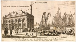 View of the Port of Amsterdam With the Office of the Water Authority, Title plate to the Eerste Deel (part 1) of Various Ships and Views of Amsterdam