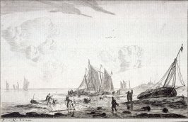 Beach Scene with Ketches and Another Fishing-Boats Driven Ashore