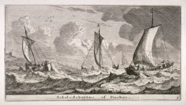 'Scholschuiten' or 'Pinken' on a rough sea