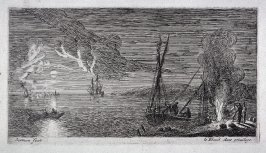 Night Scene with Fishermen Standing By a Fire
