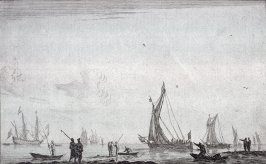Inland Waterway with Two Galliots at the Right, in Left Background a Merchantman