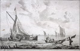 Shore of Inland Waterway with a Ketch, Two Smaller Boats and Fishermen