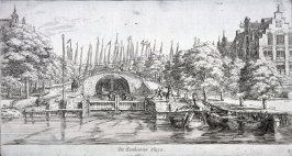 """The Eenhoorn Sluice, """"Korte prinsengracht"""", far right the house at Brouwers gracht, no. 162"""""""