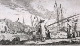 "Wharf at Mediterranean Coast; title page of series of seven numbered plates ""Several Sailing-Vessels and Merchantmen"""