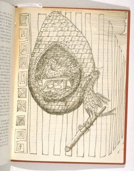 Untitled drawing of bird and nest, bound before last leaf of French text in the book Dans la cage (Paris: Galerie Furstenberg, 1957)