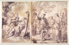 Sketchbook sheet: Saint John in Patmos; Jacob and Sarah at the Well (recto); Two Portraits; Virgin and Child with Infant St. John (verso)
