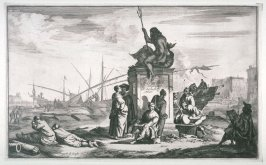 [One from] Set of four Marine and Harbour scenes: 1 In center man pointing towards figure of Neptune riding Dolphin, sailing vessels being loaded in background