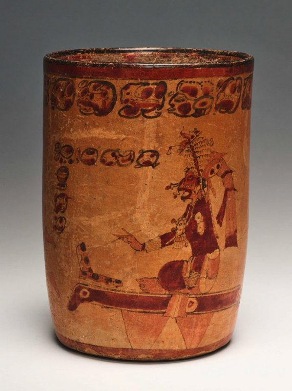 Cylinder vase with monkey scribe and codex scribe