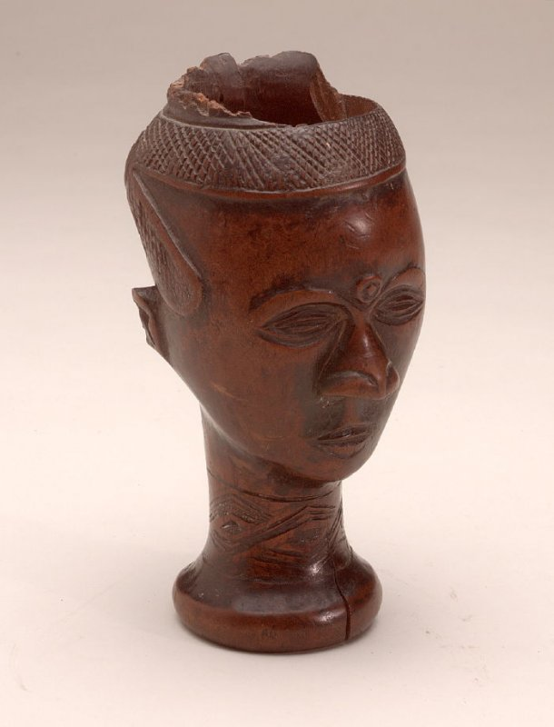 Carved, hollow, wooden head