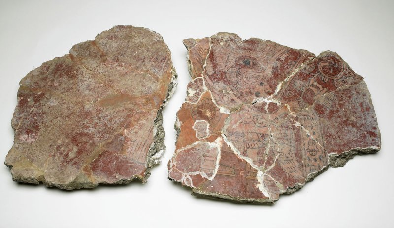 Mural with Red profile of priest with speech scroll (2 fragments)