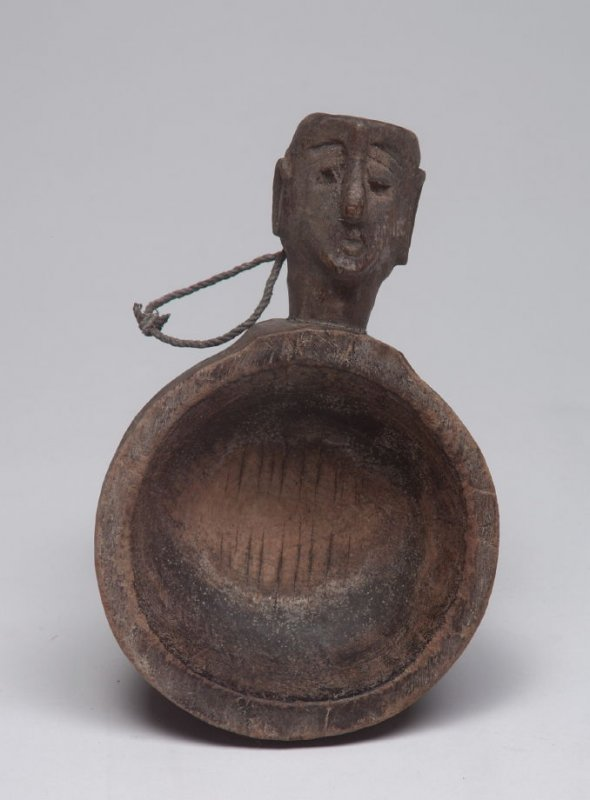 Bowl with Handle in the form of a Human Head