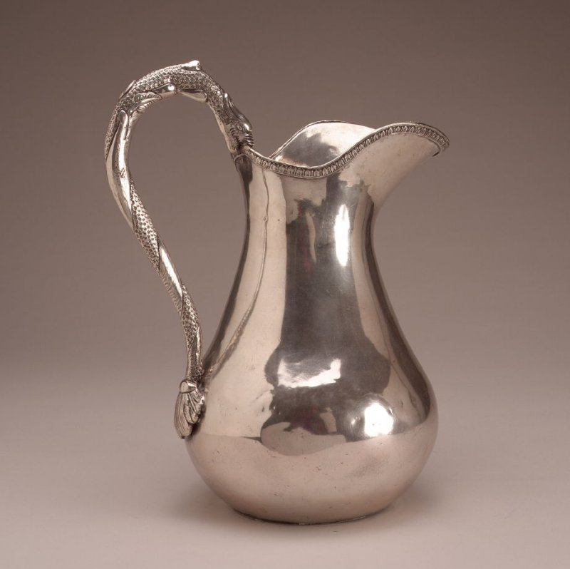 Pear-form water pitcher.