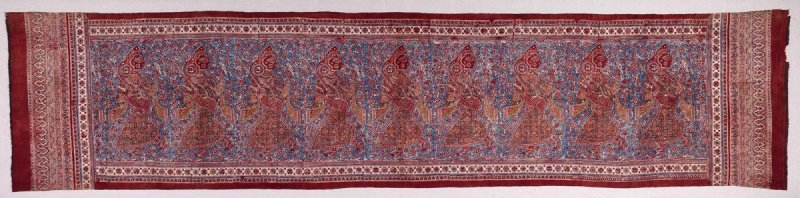 Ceremonial cloth depicting a procession of female dancers