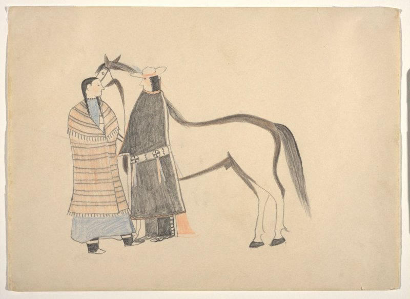 Ledger drawing (Figures with horse)