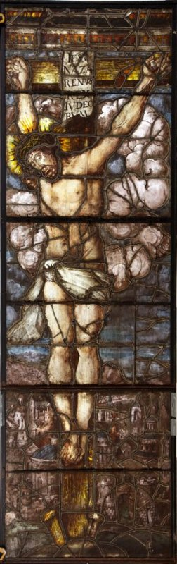 Stained glass window: Crucifixion