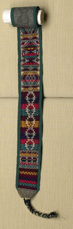 Belt (part of woman's costume - 42.22.1a-d) green border with black and white stripes