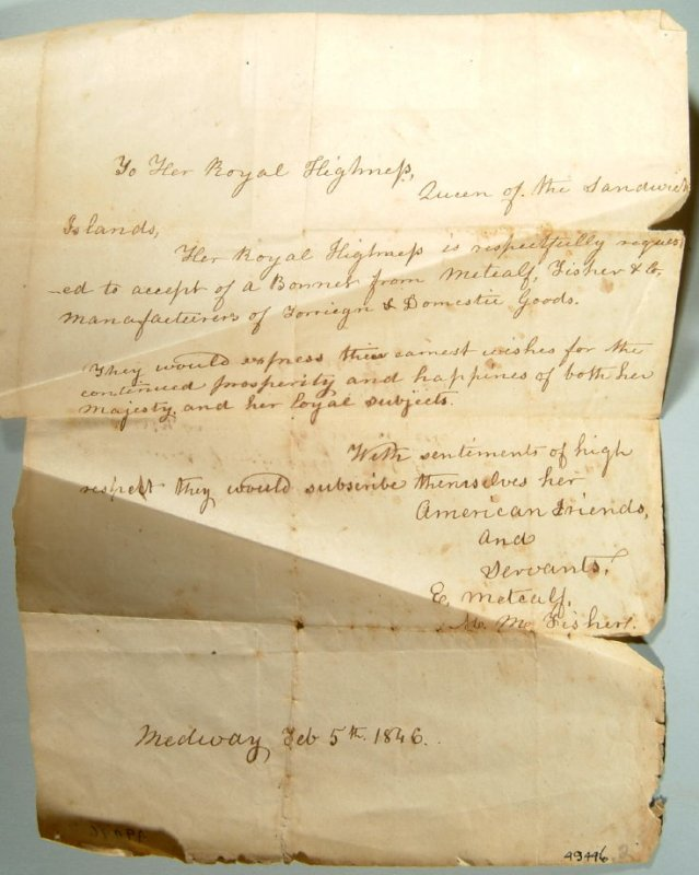 Letter to Queen of Hawaii