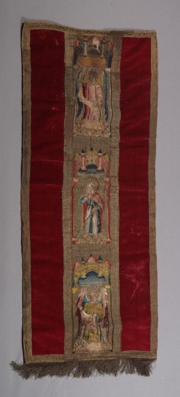 Orphrey with red panel (lectern drape)