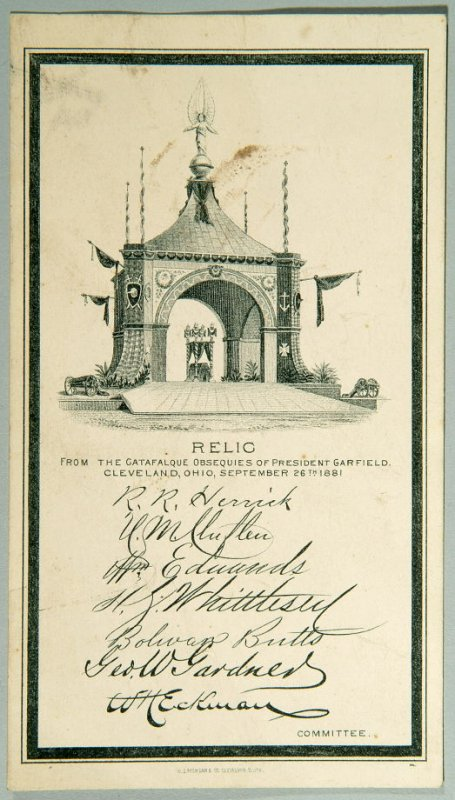 Card, relic from the catafalque obsequies of President Garfield, 09/26/1881