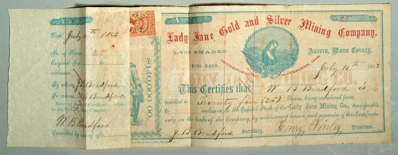 Certificate of stock, Lady Jane Gold & Silver Mining Co. July 14, 1863