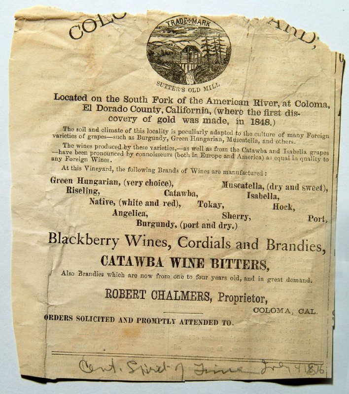 advertisement for Coloma orchard, fragment