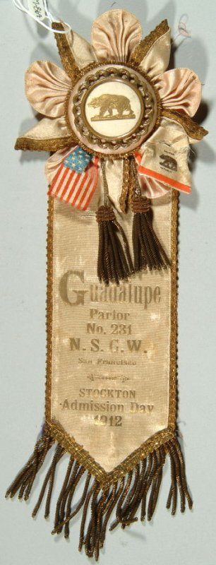Ribbon: Guadalupe Parlor #231, Stockton Admission Day, 1912 beige, with tassels