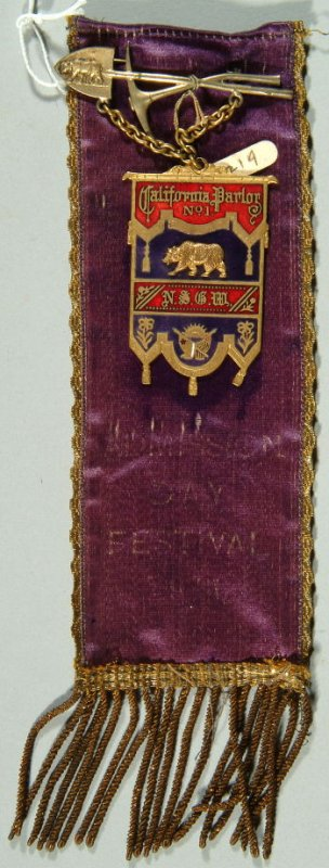 """Admission Day Festival ribbon inscribed, """" California Parlor#1, N.S.G.W."""" with pick and shovel bar; purple"""