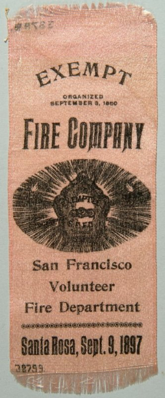 Ribbon: Exempt Fire Company, S.F.V.F.D. 09/09/1897 pink