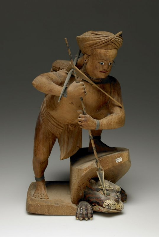 Figure of man with spear and tiger