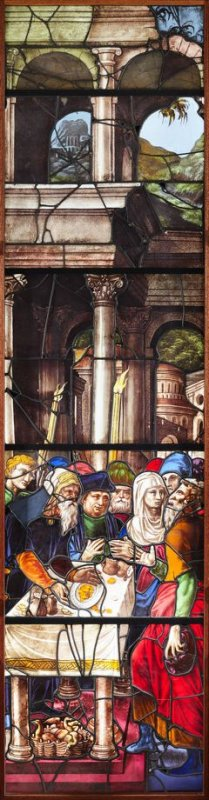 Stained glass window: Joachim Refused at the Temple