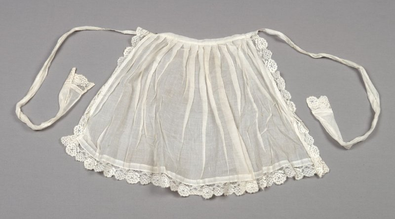 Apron from child's Swiss costume: skirt, bodice, blouse, apron, bonnet, waist, collar mitts & necklace
