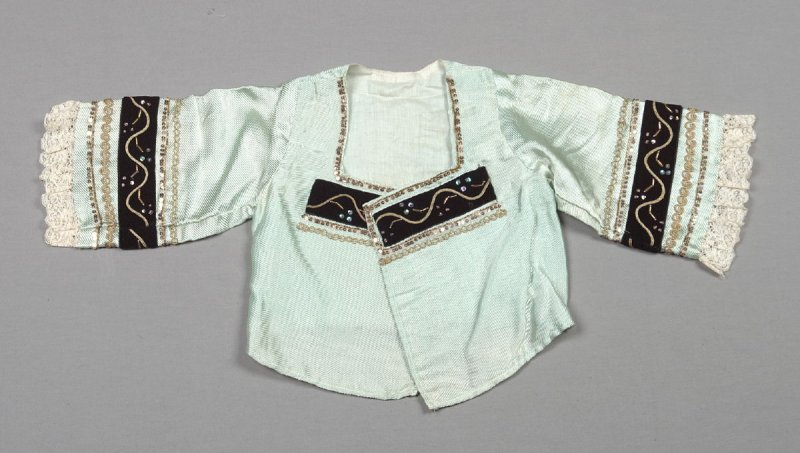 Blouse from girl's ensemble: blouse, skirt and vest (with d: under- dress and e: collar)