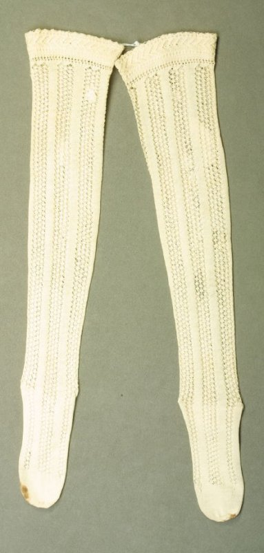 Pair of stockings white, with openwork bands