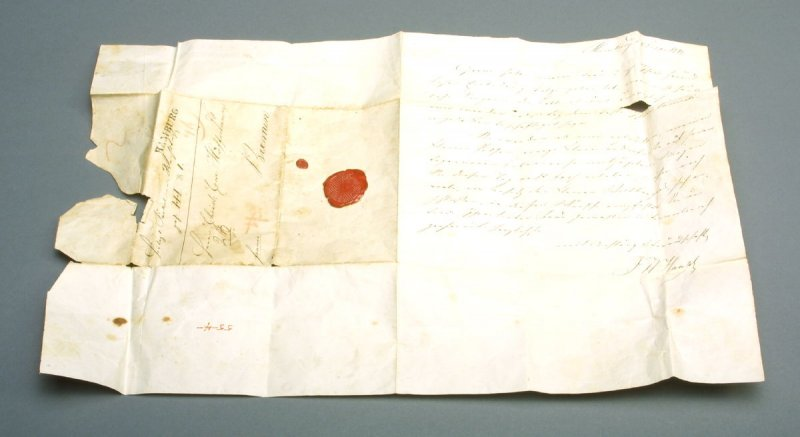 """Letter in German signed by """"Haupt"""",from Hamburg or Bremen?; probably non- accessioned, with 55.4"""