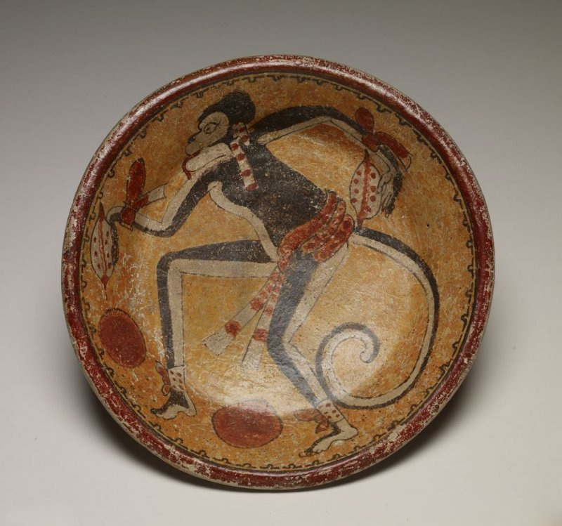 Plate with monkey and cacao pods