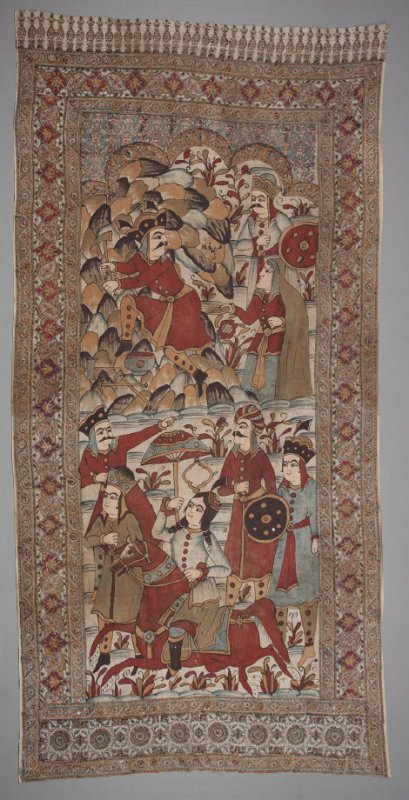 Panel with figures. Qajar Iran, painted and block printed on cotton; 19th c.