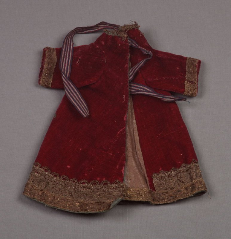 Coat for religious figurine maroon with gold metallic braid, linen lining