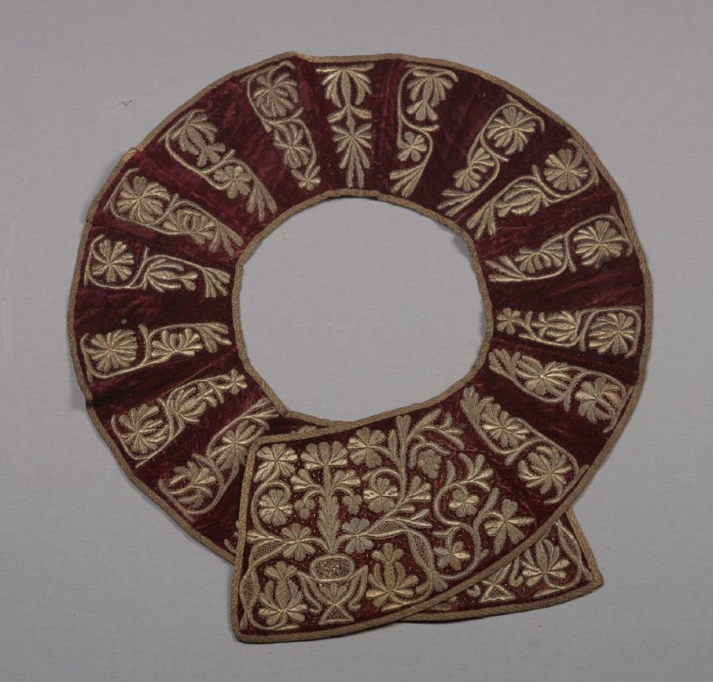 Collar from ecclesiastical vestment gold floral design on maroon
