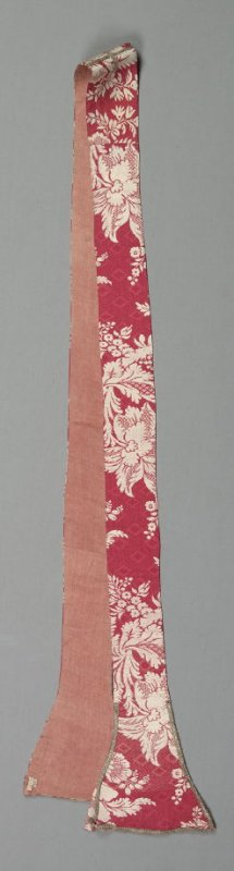 Stole silver cross and white flowers on red