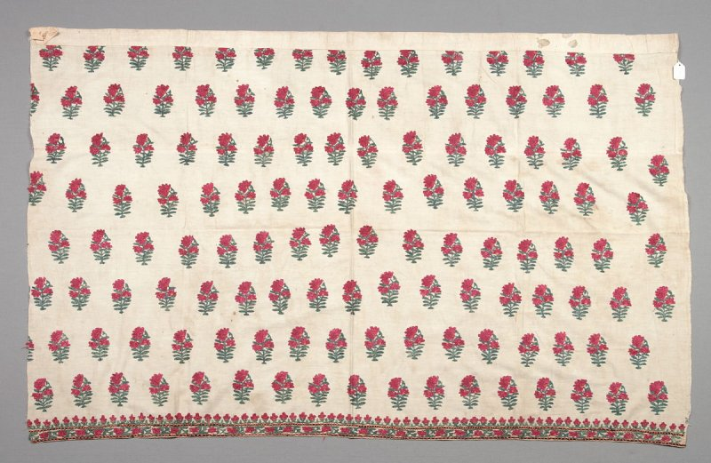 Embroidered panel; red flowers