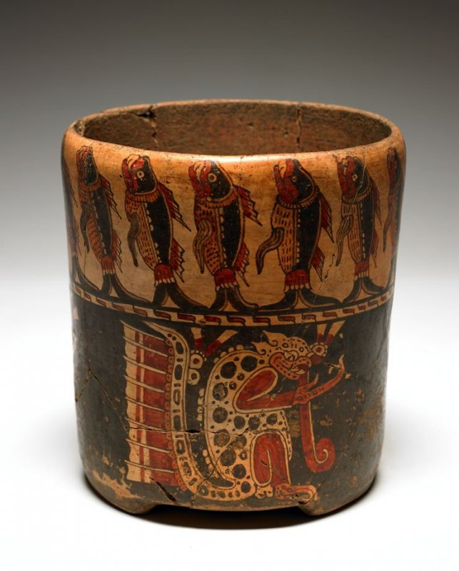 Vessel with jaguar and fish