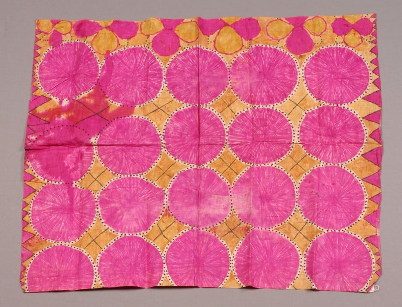Panel, hot pink circles on yellow-beige ground.