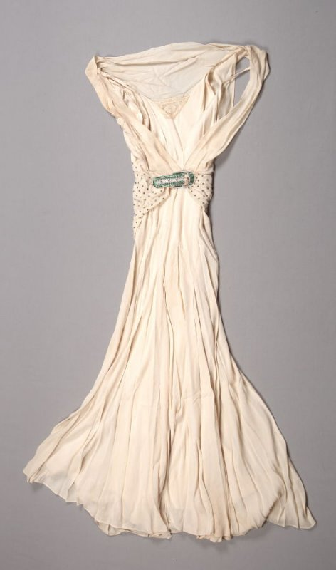 Evening dress with attached belt