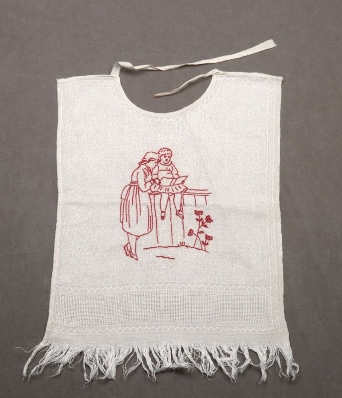 Baby bib :with girl and child in red on white