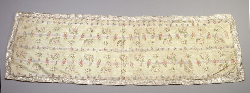 Fragment pale green with flowers and white stripes