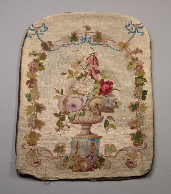 Tapestry cushion: design of roses, foxgloves and grapes