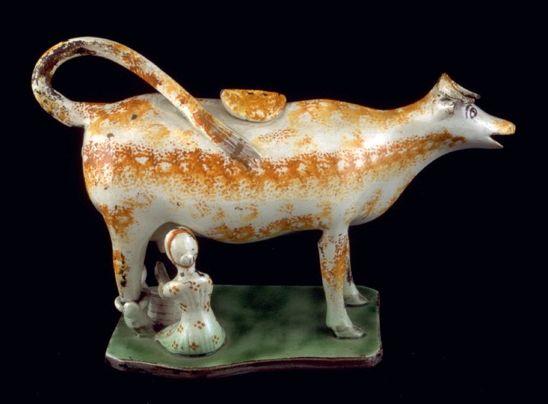 Milk jug in the form of a Cow with Milkmaid