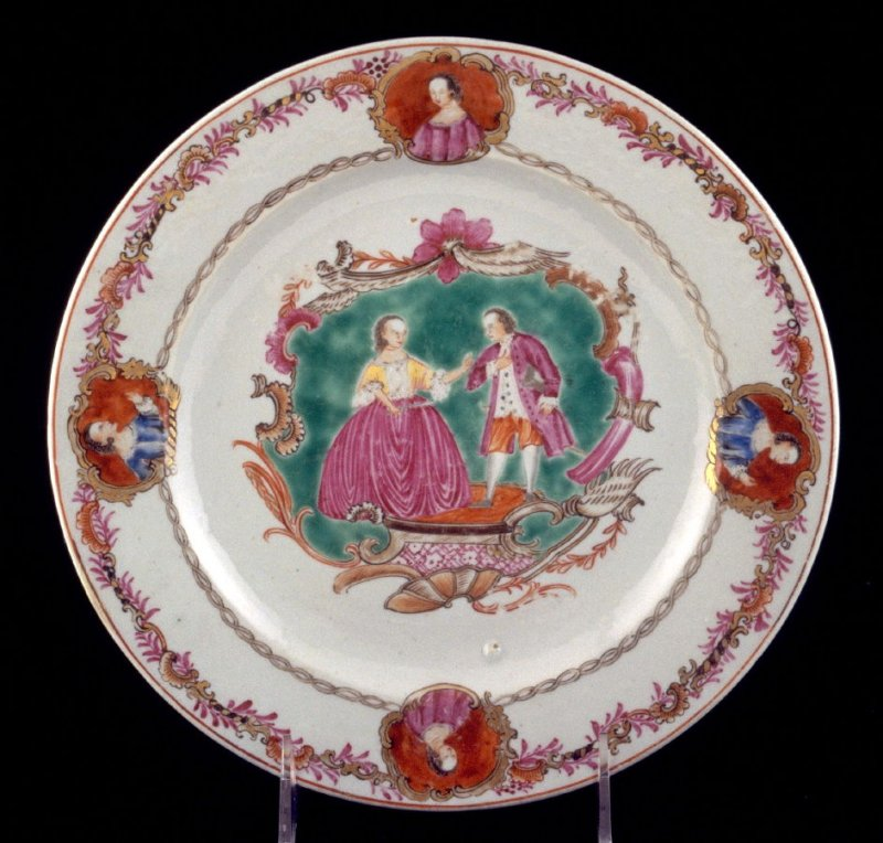 """Plate, """"Ben Franklin and Marie Antoinette"""""""